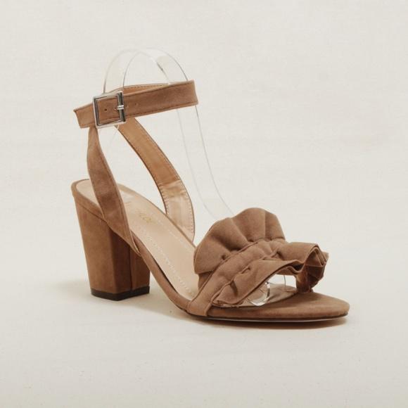 3e0f1088439 Taupe Ruffle Ankle Strap Chunky Heel Sandal Kalani